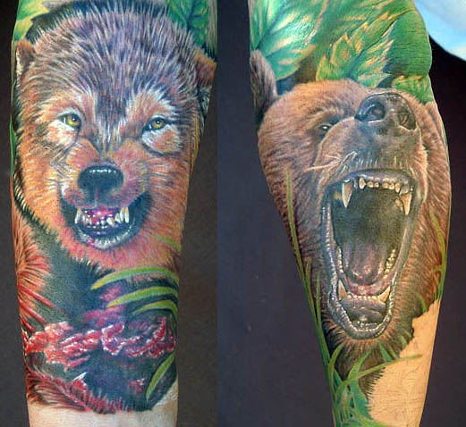 Mike DeVries - Bear and a Wolf tattoo